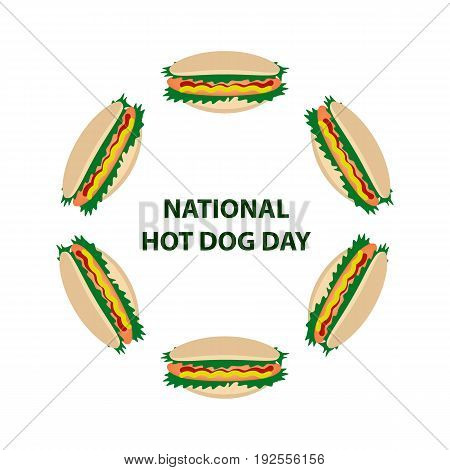 National Day hot dog in the USA. 23 July. Round frame of hot dogs. Vector illustration on isolated background.