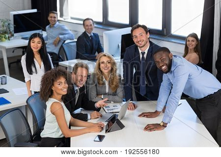 Brainstorming Process, Business Team Discussing Project During Meeting In Modern Office, Teamwork Concept, Group Of Businesspeople Planning Startup Project Together