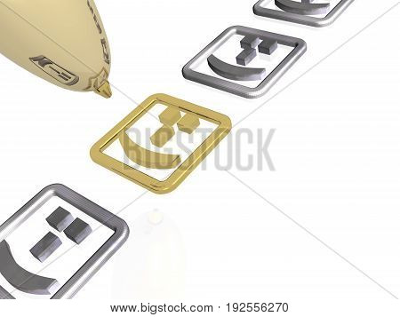 Gold pen with smiles on white background 3D illustration.