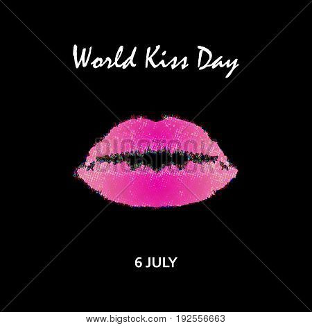 World Kiss Day. 6 July. Watercolor pink lips. Imprint of lips and kiss. Print. Vector illustration on a black background.