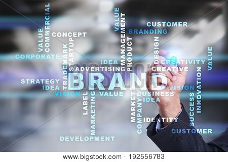 Brand concept on the virtual screen. Business concept. Words cloud