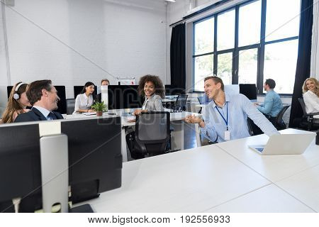Business Team Working Concept Modern Open Space Office, Businesspeople Group Coworkers Sitting At Computers Talking On Brake, Mix Race Colleagues Communication