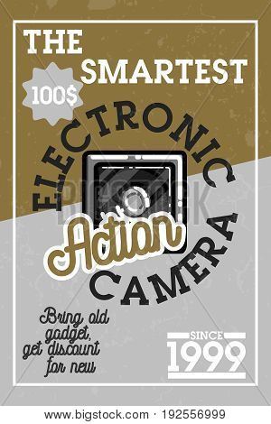Color vintage electronic gadgets banner. Vector illustration, EPS 10