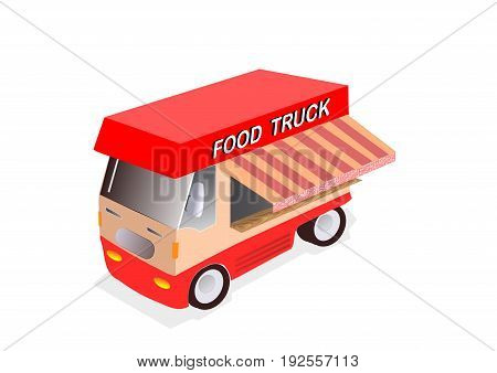 illustration of red food truck on white background