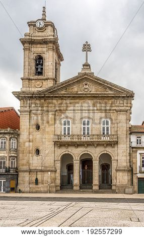 Basilica Sao Pedro at the sqaure Largo do Toural in Guimaraes - Portugal