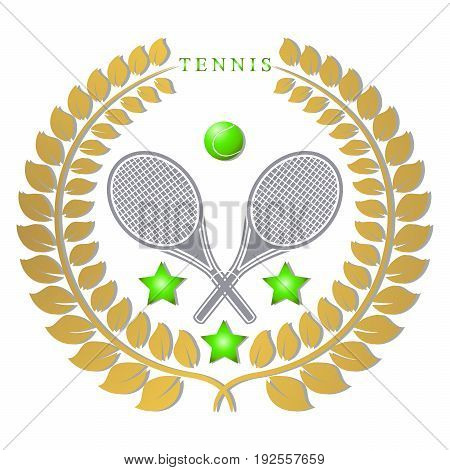 Abstract vector illustration of logo for game tennis flying green ball,racket closeup white background.