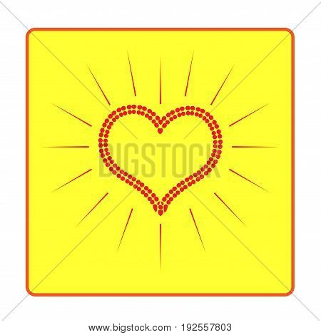 Heart red in frame isolated. Light sign on yellow background. Romantic silhouette symbol linked join love passion and wedding. Colorful mark of valentine day. Design element. Vector illustration