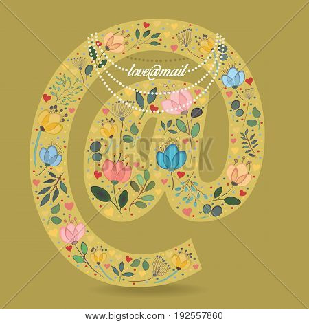 Yellow Symbol At with Folk Floral Decor. Colorful watercolor flowers and plants. Small hearts. Graceful pearl necklace with text. Vector Illustration