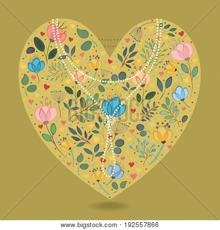 Yellow Heart with Folk Floral Decor. Colorful watercolor flowers and plants. Small hearts. Graceful pearl necklace with text. Vector Illustration
