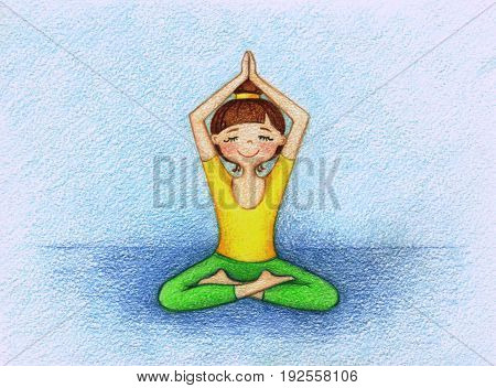 hand drawn picture of girl doing yoga by the color pencils