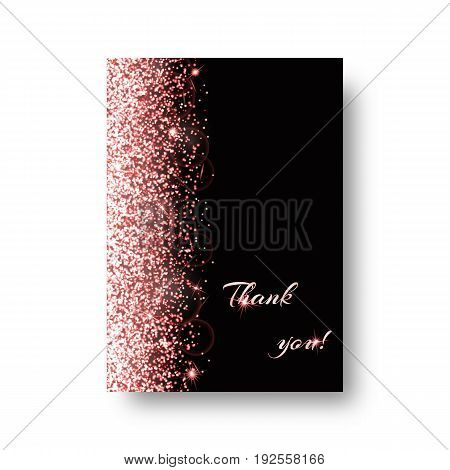 Glitter background with shining light. Particles vector on a black backdrop.