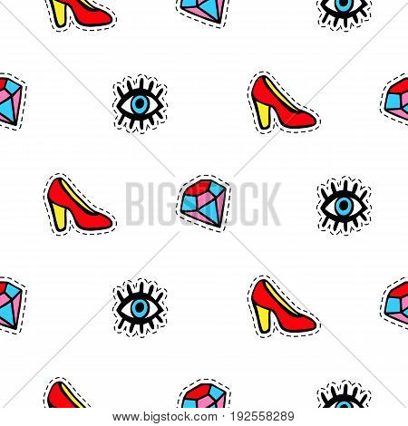 Seamless pattern with fashionable patch badges set, red shoes, eyes and diamonds, isolated on white background. Stickers, pins, patches doodle in cartoon pop art 80s-90s style. Vector illustration