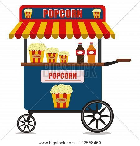 Popcorn cart carnival store and fun festival. Popcorn cartoon cart delicious tasty retro car. Candy corn container seller cart. Popcorn cart snack food market flat vector illustration.