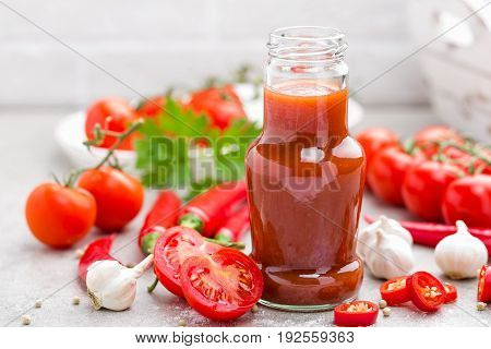Tomato ketchup chilli sauce tomatos puree with chili pepper tomatoes and garlic