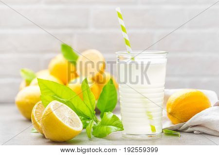 Lemonade. Drink with fresh lemons. Lemon cocktail with juice.