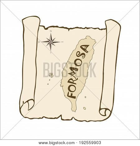 Scroll with a map of Formosa in brown tones. The sketch old papyrus paper. Map of Taiwan isolated on white background. Square location. Vector illustration.