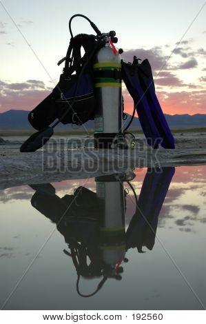 Scuba Gear At Sunset