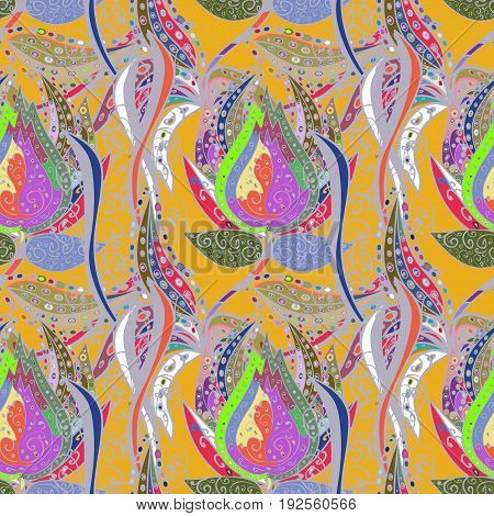 Colored elements. Abstract vector decorative ethnic mandala sketchy seamless pattern. Colorfil background.