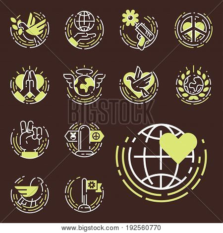 Peace outline thin line icons love world freedom international free care human hope symbols vector illustration. Cooperation flag happy together and no war direction arrow.