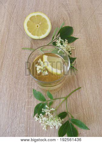 Freshly made lemonade with elderflower and lemon