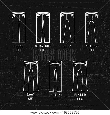 Denim fit icon set. Different type of jeans and trousers on black background
