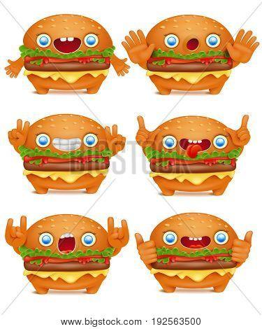 Burger emoticon cartoon character collection. Vector set