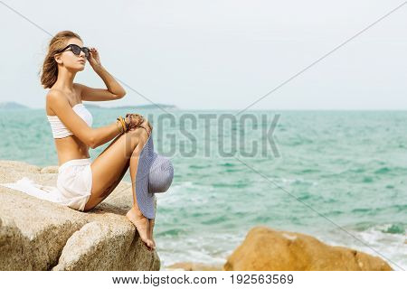 Pretty Lady In Summer Outfit On The Beach.
