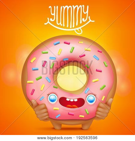 Donut cartoon emoticon character with yummy title. Vector illustration