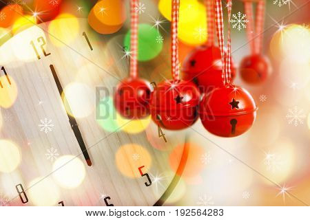 Countdown to Christmas celebration. Jingle bells and clock on background