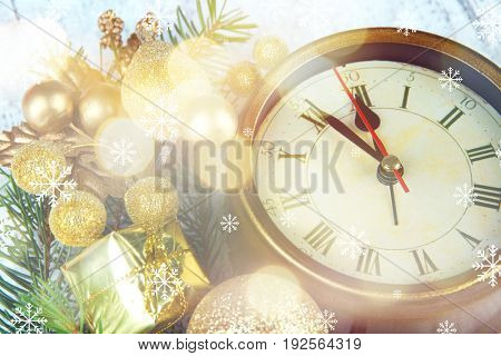 Countdown to holiday celebration. Composition with clock and Christmas decorations, closeup