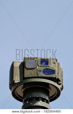 Closeup of a war machine Camera and Sensor Pod Module.