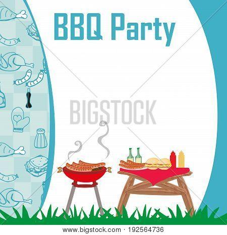 Barbecue Party menu card Invitation , vector illustration