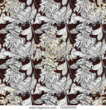 Vector oriental ornament. Whiteen pattern on brown background with white elements. Seamless white pattern.
