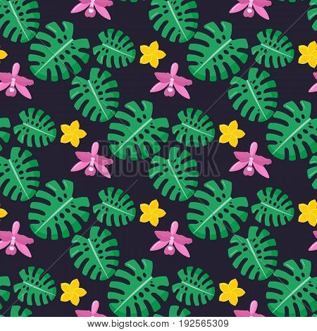 Tropical plants seamless pattern Flat design of tropical plant on the dark background vector illustration with swatch