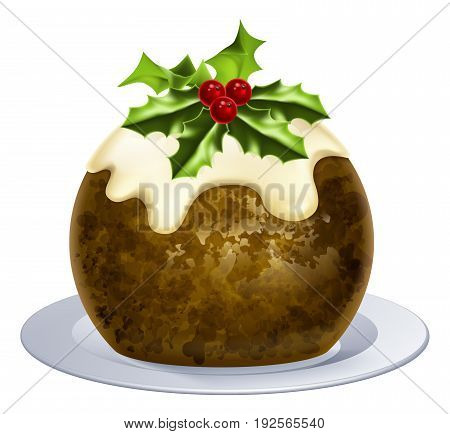 An illustration of a Christmas pudding cake with holly on top