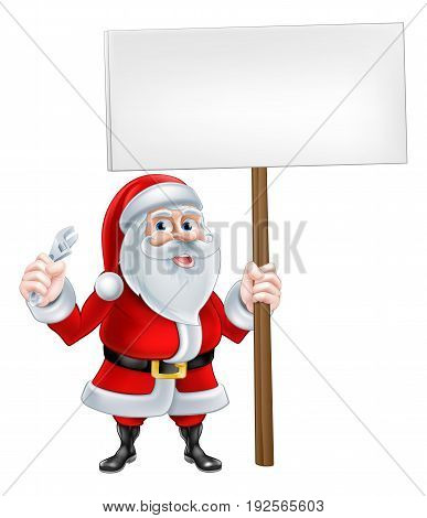 A Christmas cartoon illustration of Santa Claus holding spanner and sign post