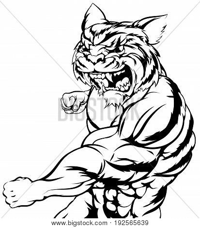 A mean tough tiger animal sports mascot punching at viewer