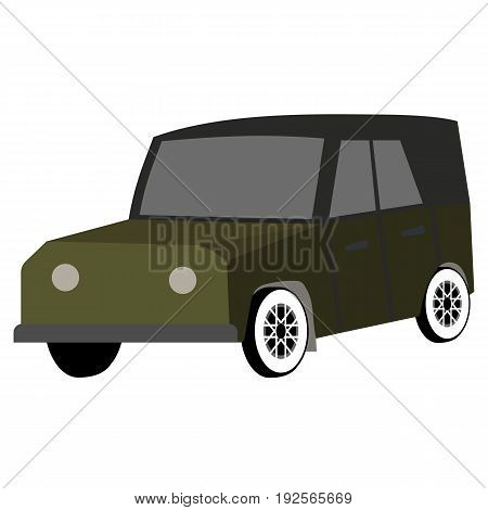 Car for travel, hunting, safari. Vector flat illustration isolated on white background.
