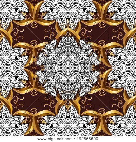 Pattern on brown background with golden elements. Classic vintage background. Traditional orient ornament. Classic vector golden pattern.