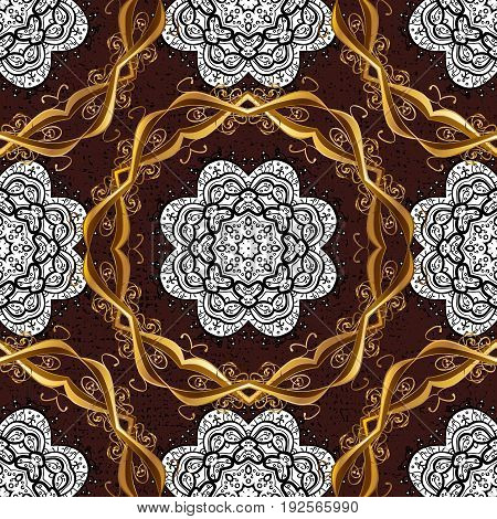 Vector oriental ornament. Golden pattern with white doodles on brown background with golden elements. Seamless golden pattern.
