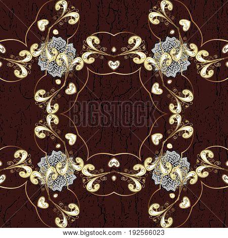 Vector line art border for design template. Vector illustration for invitations cards certificate web page. Golden element on brown background. Eastern style element. Golden outline floral decor.