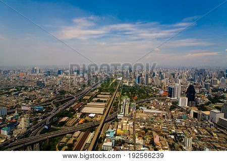 View of the capital of Thailand Bangkok from a bird's eye view.