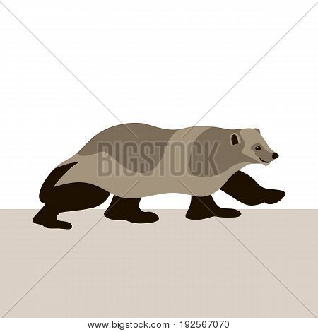 wolverine  vector illustration style Flat  profile side