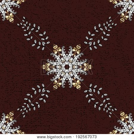 Abstract sketch wrapping decoration. Vector golden pattern on brown background with golden element. Winter symbol Merry Christmas holiday Happy New Year 2018. Golden snowflake seamless pattern.