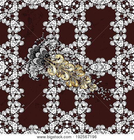 Flat hand drawn vintage collection. Backdrop fabric gold sketch. Golden pattern on brown background with golden elements. Vector golden pattern.