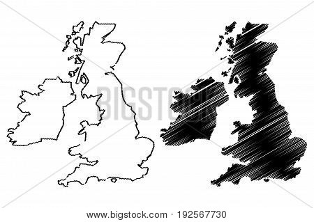British Isles map vector illustration , scribble sketch British Isles
