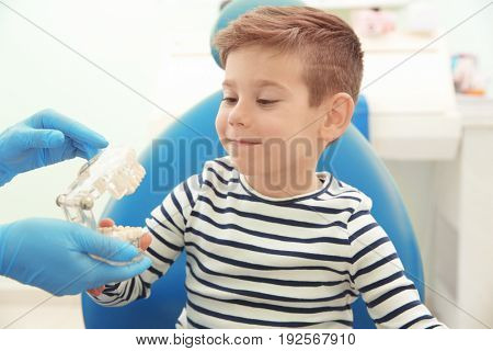 Dentist showing little boy plastic jaw mockup in clinic