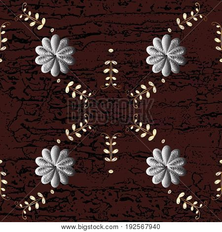 Damask pattern repeating background. Golden brown floral ornament in baroque style. Antique golden repeatable sketch.Golden element on brown background.