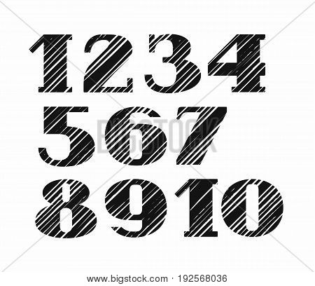 The figures, diagonal striped pattern, black, white background, vector.  Figures with serifs.