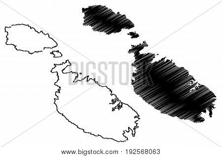 Malta island map vector illustration , scribble sketch Malta island
